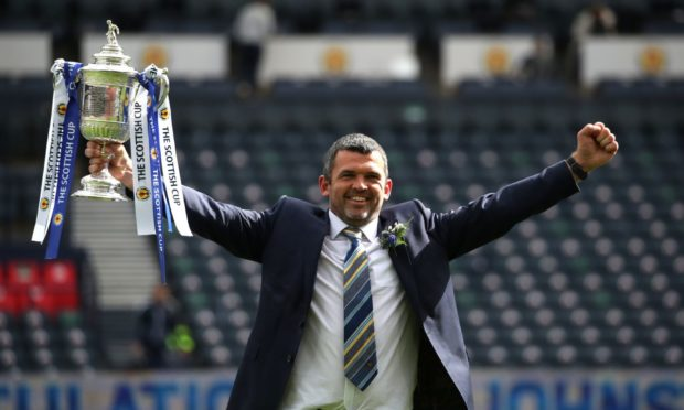 St Johnstone manager Callum Davidson with the Scottish Cup.