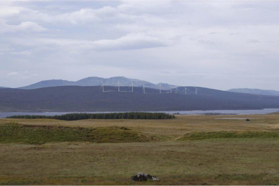 An impression of the Sallachy wind farm on Loch Shin