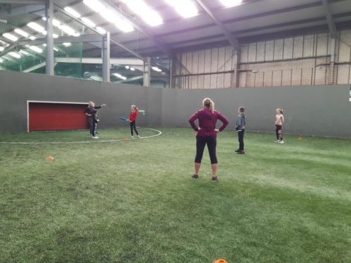 Participants of the program at Strikers Indoor Football Aberdeen.