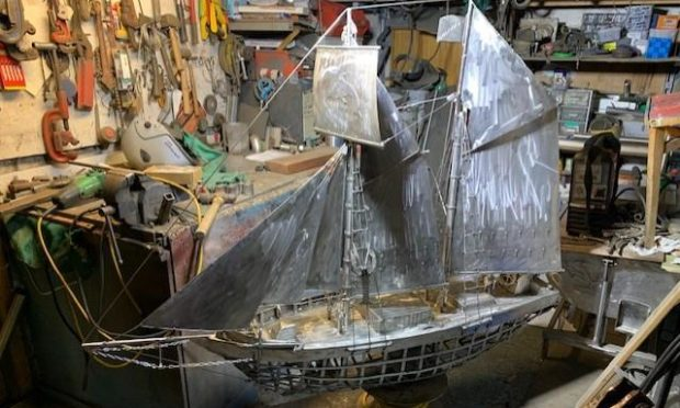 Metal model of the schooner Isabella under construction at the workshop of the 'Stonehaven Banksy' - Jim Malcolm.