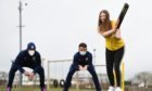 CR0028193  Scottish cricket international players, Michael Leask and Craig Wallace joined pupils at Clerkhill School, Peterhead as part of the Chance to Shine initiative to take cricket to the schools  In pic... Michael Leask, Craig Wallace, Madison Buchan P6  Wullie Marr / DCT Media    13-05-2021