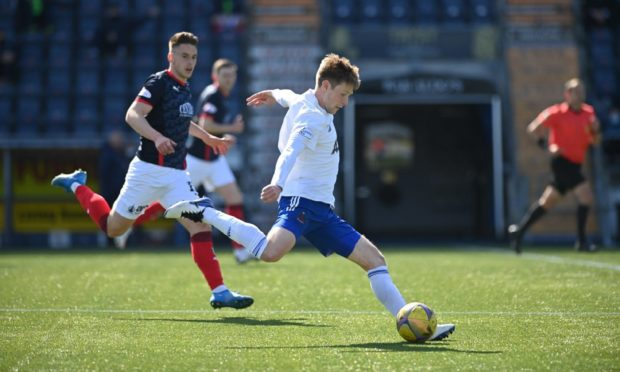 Blair Yule in action for Cove Rangers against Falkirk.