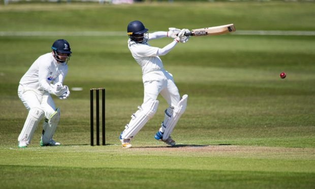 CR0028549  In pic... Aberdeenshire CC batting against Strathmore at Mannofield  18 yo Aayush Dasmahaptra on his way to 66 from 83 balls  Wullie Marr / DCT Media    29-05-2021