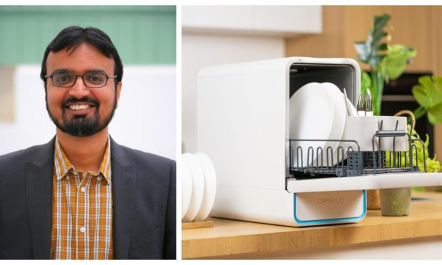 Taimoor Asim, senior lecturer in mechanical engineering at Robert Gordon University, and the Capsule dishwasher he helped design.
