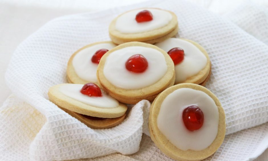 Empire biscuits from Dean's Shortbread.