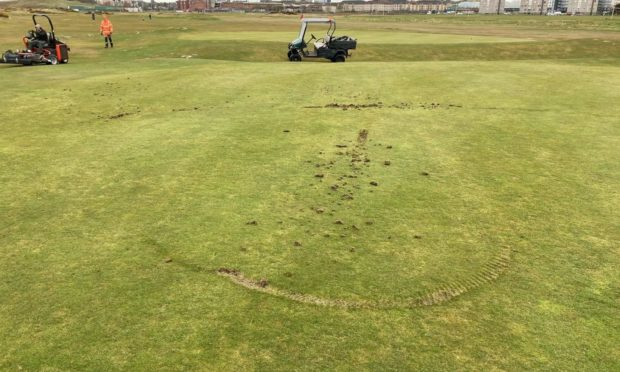Damage was caused to the course by a motorbike.