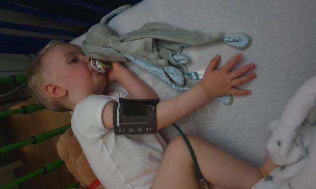 Logan Davie in hospital