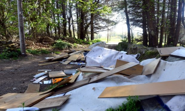 Fly-tipping was previously reported on a woodland footpath next to Auchmill Golf Course.
