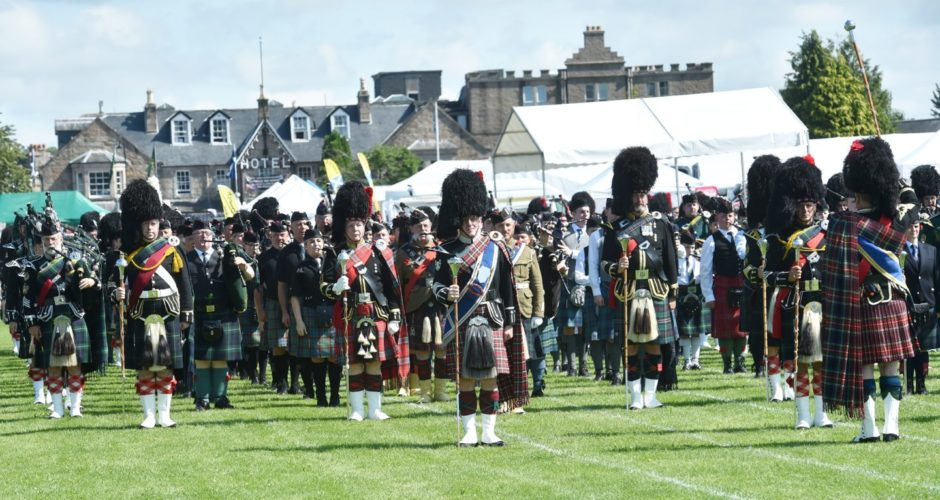 Mass Pipe Bands at the Aboyne Highland Games, 2019 Picture by Colin Rennie