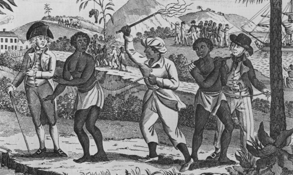 African captives for the Caribbean slave trade. In the foreground a women is whipped. Several groups of newly arrived slaves are leaving the port area in coffles. Late 18th century engraving.; Shutterstock ID 242290510; Purchase Order: -