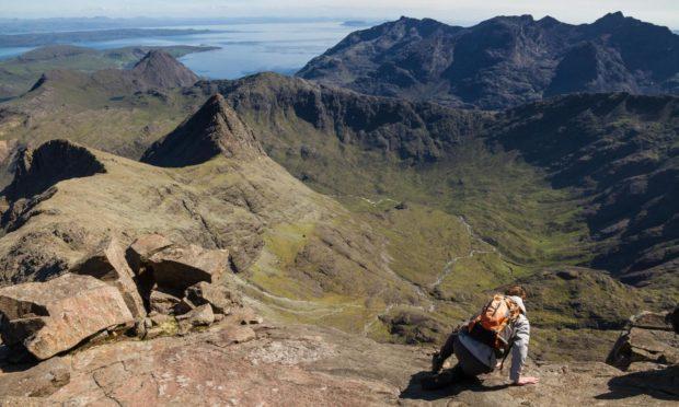 Scrambling down from the summit of Sgurr nan Gillean in the Cullin ridge on Skye.