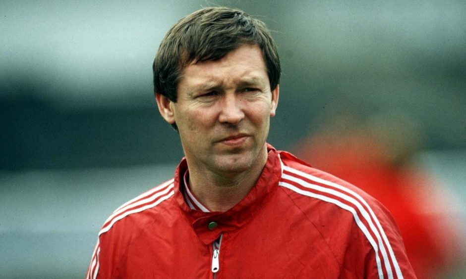 Sir Alex pictured before the 1983 Cup Winners' Cup final in Gothenburg.