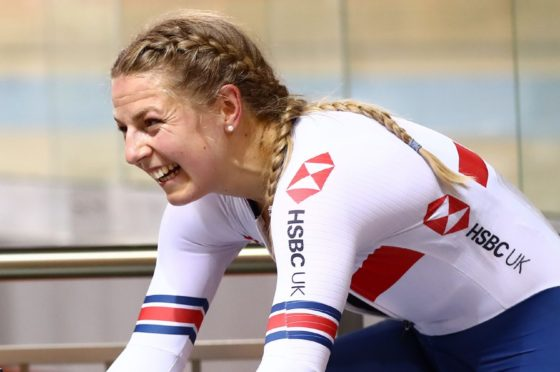 Neah Evans after taking gold at the European Track Cycling Championships last year in Bulgaria.