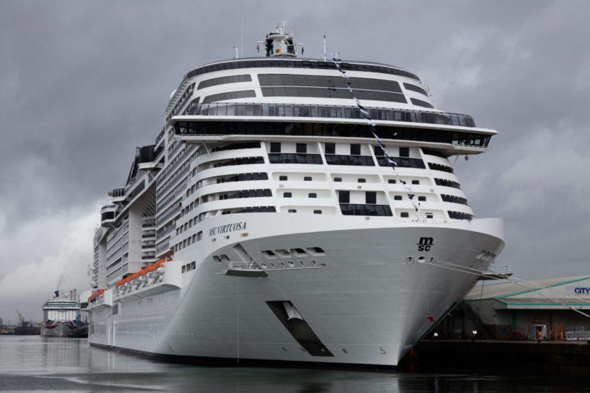 MSC Virtuosa in dock at Southampton.