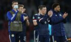 Scotland players dejected at the final whistle of their game with Croatia.