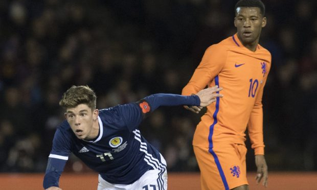 Ryan Christie in debut action for Scotland against Holland in November 2017.