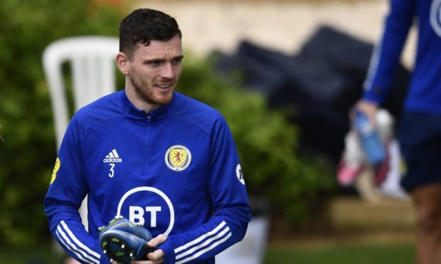 Scotland captain Andy Robertson during a training session at La Finca Resort n Alicante, Spain