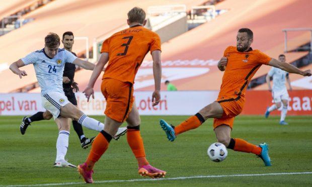 Jack Hendry scores to make it 1-0 Scotland against Netherlands.