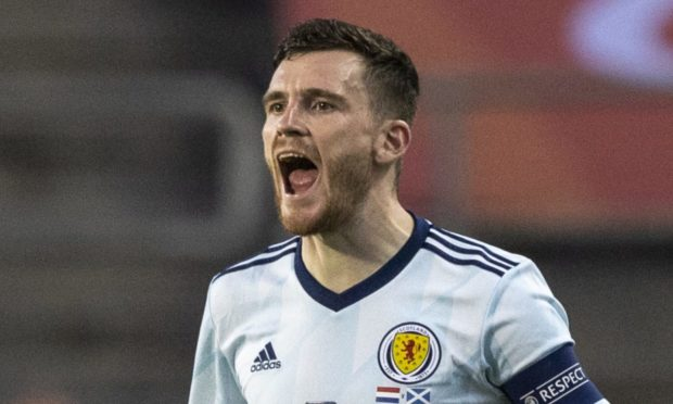 Scotland Captain Andy Robertson in action during the 1-0 friendly defeat of Luxembourg.