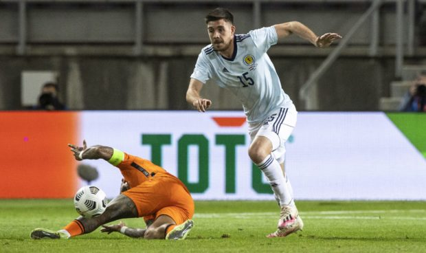 Scotland's Declan Gallagher in action during a friendly against the Netherlands.