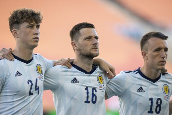 Scotland's Jack Hendry, Liam Cooper and David Turnbull during a friendly match between Scotland and Netherlands.