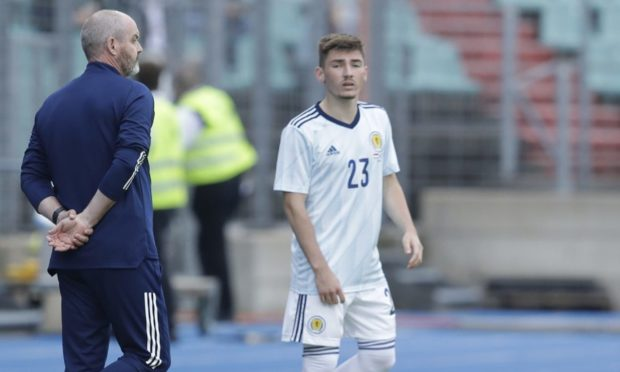 Scotland boss Steve Clarke (left) with Billy Gilmour against Luxembourg.