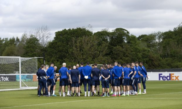 The Scotland squad during a training session at Rockliffe Park in Darlington., ahead of their Euro 2020 campaign.