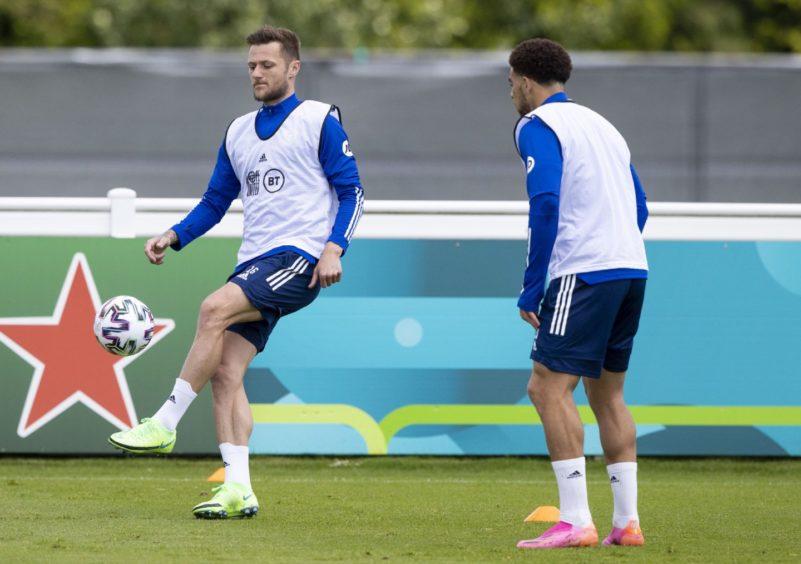 Liam Cooper in Scotland training in Darlington.