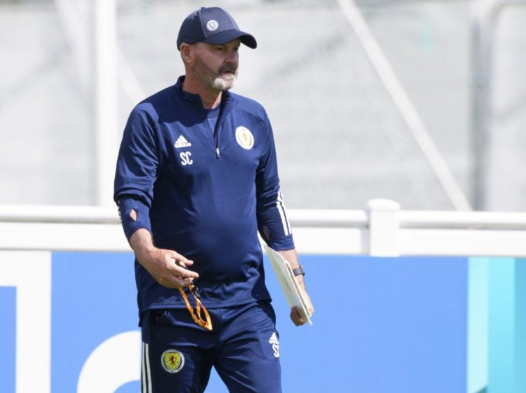 Steve Clarke during a Scotland training session.