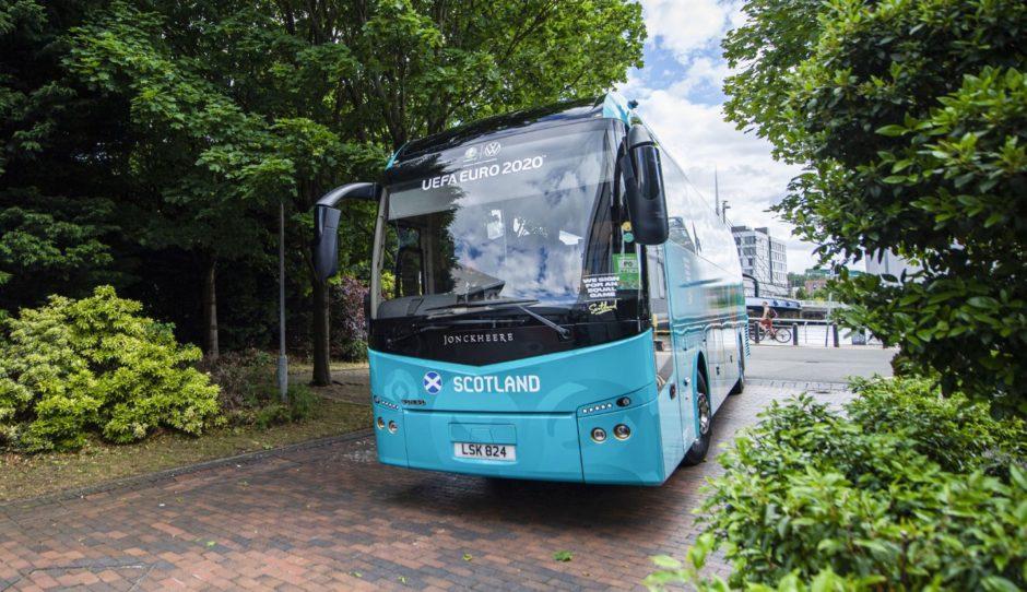 The Scotland team bus arrives in Glasgow on Sunday.