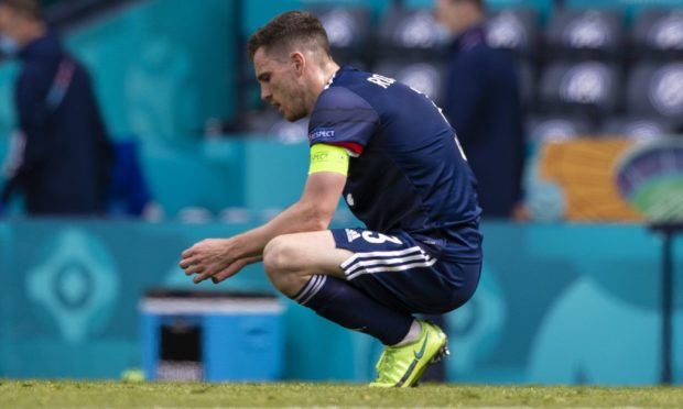 Scotland captain Andy Robertson was dejected at full-time
