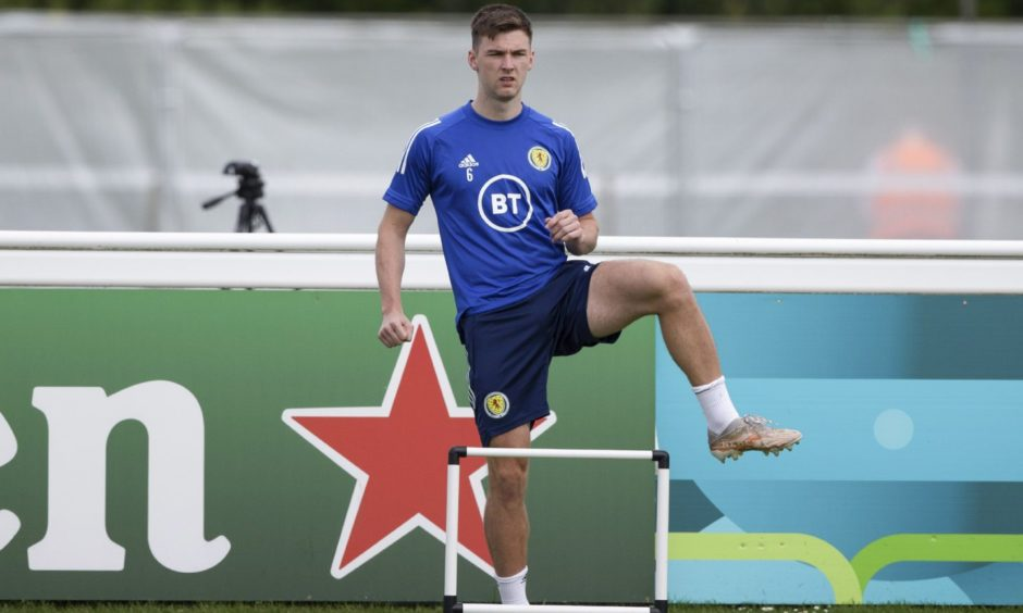 Kieran Tierney during a Scotland training session on Tuesday.