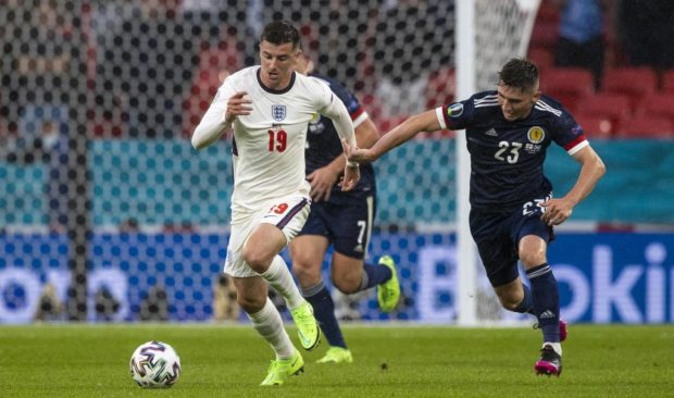 Scotland's Billy Gilmour and Mason Mount in action during a Euro 2020 match between England and Scotland at Wembley.
