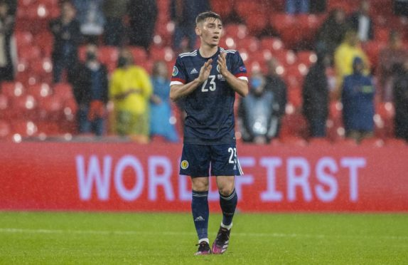 ENGLAND, SCOTLAND - JUNE 18: Billy Gilmour in action for Scotland during a Euro 2020 match between England and Scotland at Wembley Stadium, on June 18, 2021, in London, England. (Photo by Alan Harvey / SNS Group)
