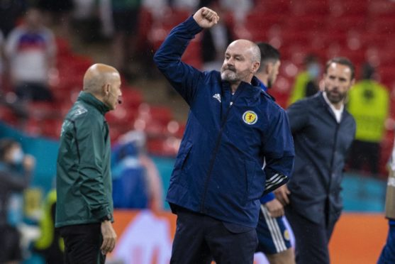 Proud. Scotland head coach Steve Clarke at full time as they hold England 0-0.