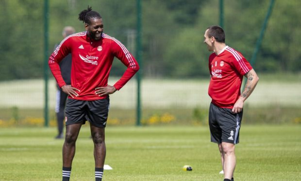 Scott Brown and Jay Emmanuel-Thomas during an Aberdeen training session at Cormack Park