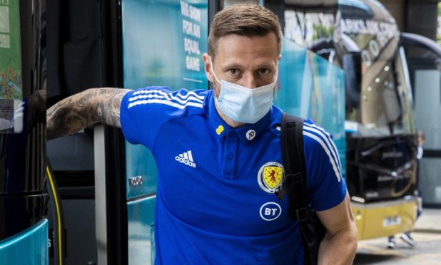 GLASGOW, SCOTLAND - JUNE 21: Liam Cooper is pictured as Scotland's squad arrive at their hotel on June 21, 2021, in Glasgow, Scotland.  (Photo by Alan Harvey / SNS Group)