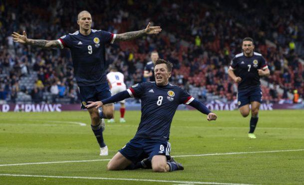 Callum McGregor celebrates after scoring to make it 1-1 against Croatia.
