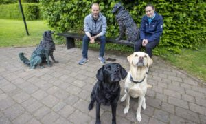 Olive and Mabel with owner Andrew Cotter and Stacie Taylor from National Trust for Scotland at Poet's Path.
