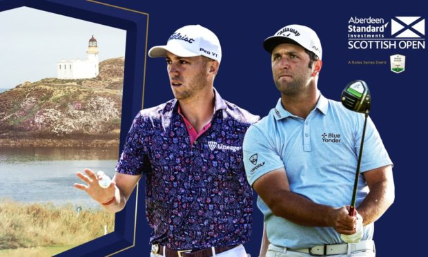 Justin Thomas, left, and Jon Rahm will play the Scottish Open in July
