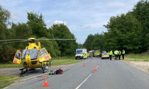 SCAA airlifted a woman following a crash on A98.