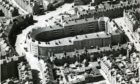 An aerial shot of the city's unique Art Deco Rosemount Square housing block, bathed in sunlight in 1966.