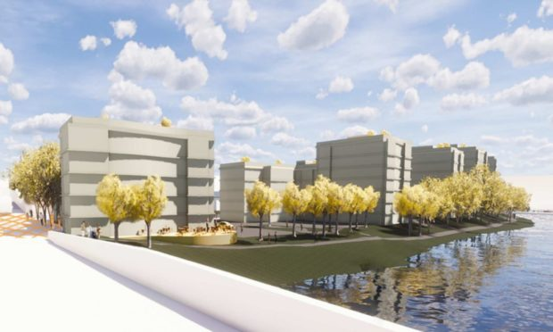 A visualisation of the scope of the flats planned for the waterfront in Torry.