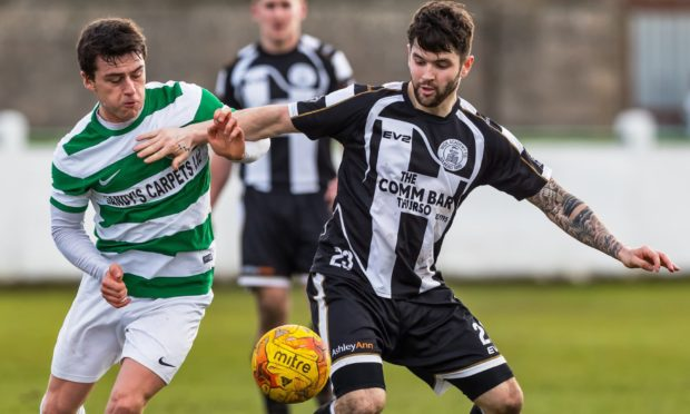 Sam Mackay, right, playing for Wick against Buckie in the Highland League, would love for his current club Golspie Sutherland to win their place in the HFL.