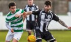 Sam Mackay, right, playing for Wick  Academy against Buckie Thistle here,  hopes his Golspie Sutherland side can win at Hawick in the Scottish Cup this weekend to reach the first round proper.