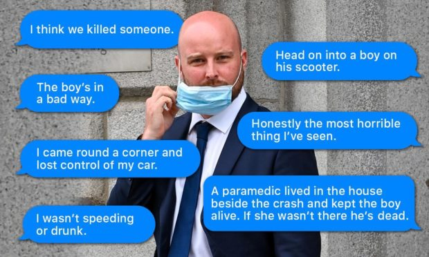 Brendan Gall and some of the messages he sent following the crash.