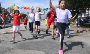 The children from Milltimber at the relay.