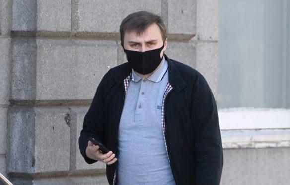 Blair Thomson leaving the High Court in Aberdeen.