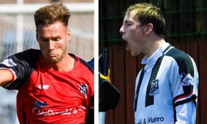 Brian Cameron, left, and Kane Hester have been named in the League Two team of the season