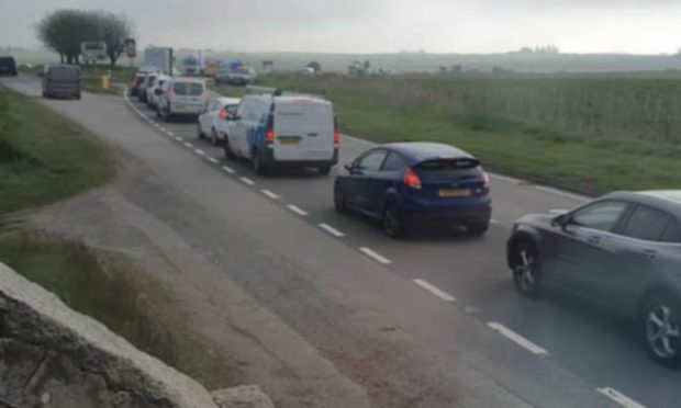 North-east road blocked as emergency services deal with two-car crash near Ellon. Supplied by Jeanette Billing Baxendale